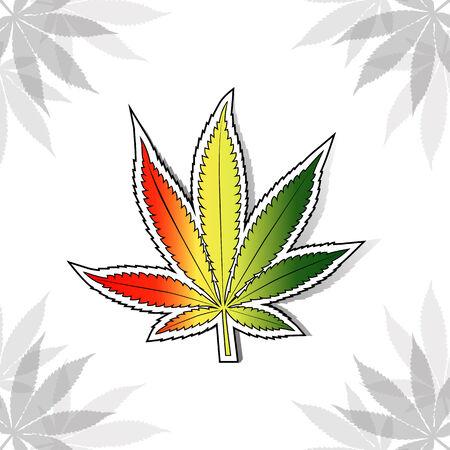 hashish: Cannabis leaf with rastafarian flag colors, vertical.  Illustration