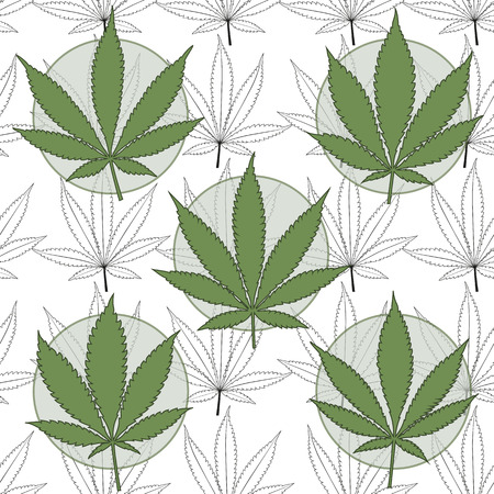 Marijuana badges with marijuana leaves background  Vector illustration