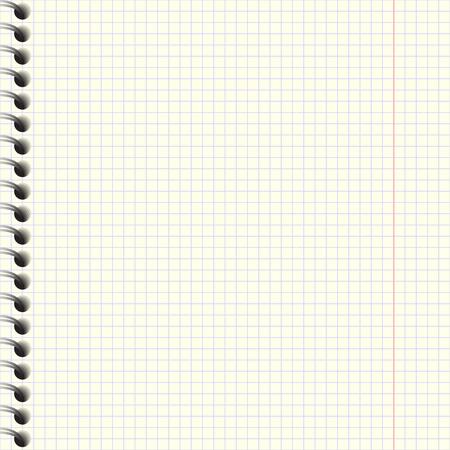 Notebook paper with spiral  Realistic vector illustration