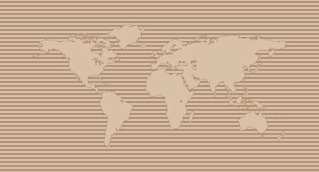 World map on corrugated cardboard background  International shipping concept Vector