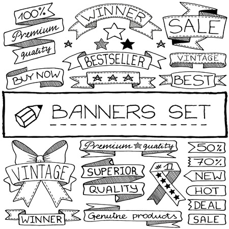 sketch child: Handdrawn banner and tag icons with captions and stars  Vector illustration