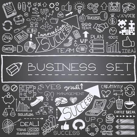 estrategia: Dibujado a mano los iconos de negocios establecidos con flechas, diagramas, las piezas del rompecabezas, pulgares para arriba y m�s efecto pizarra Ilustraci�n vectorial