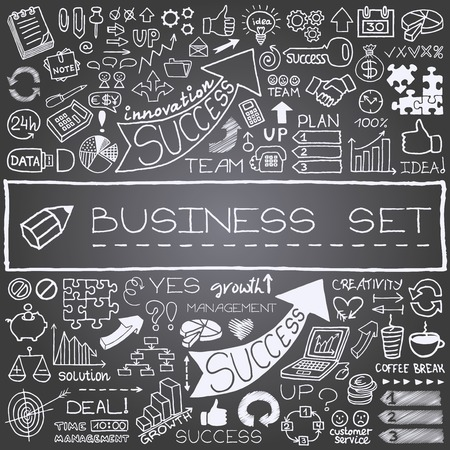 Hand getrokken zakelijke pictogrammen set met pijlen, diagrammen, puzzelstukjes, duimen omhoog en meer krijtbord effect Vector Illustratie