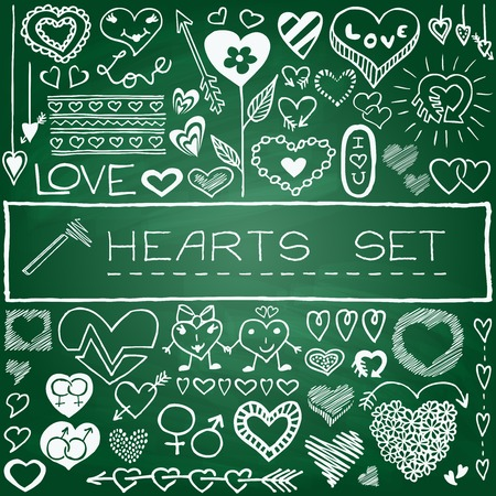 Hand drawn set of hearts and arrows with green chalkboard effect  Vector Illustration  Vector