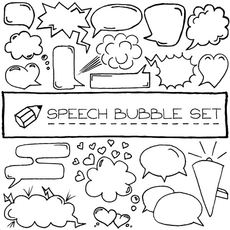 Hand drawn speech bubbles with hearts and clouds  Vector illustration   Vector