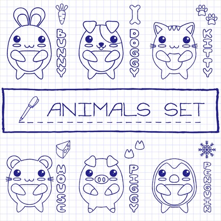 Hand drawn set of japanese style baby animals  Pen drawn effect  Vector illustration  Vector