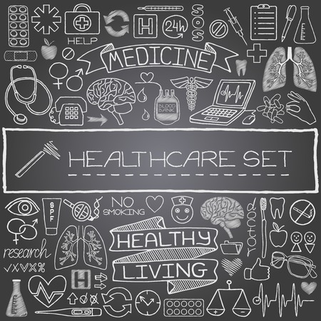Hand drawn medical set of icons with medical and science tools, human organs, diagrams etc  Black chalkboard effect  Vector illustration   Vector