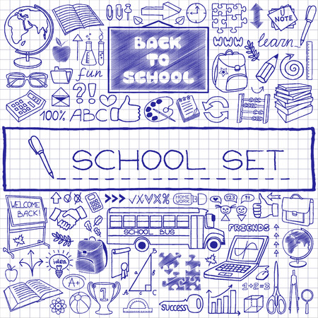 Hand drawn school icons set, pen drawn on paper effect  Vector Illustration  Vector
