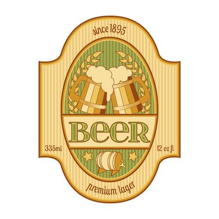 Beer label design in golden and green  Vector illustration, global swatches  Vector