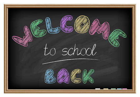 Back to school poster  Chalkboard effect  Vector illustration Vector