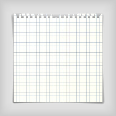 Square note paper sheet with squares, realistic vector illustration Vector