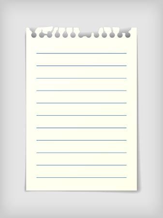 Small note paper sheet, photo realistic vector illustration