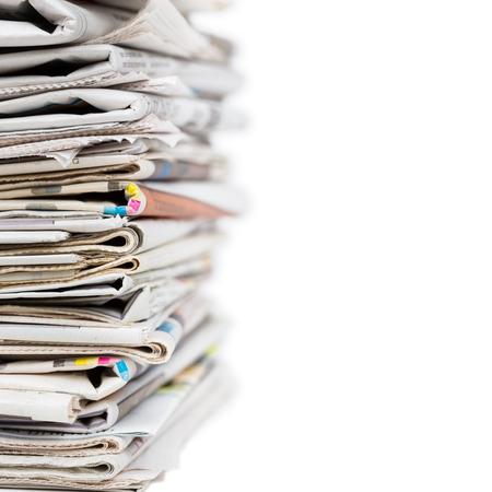 신문 근접 촬영의 스택 촬영 뉴스 및 업데이트 개념