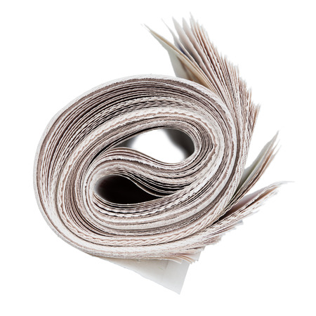 Roll of newspapers  Isolated on white  News and updates concept