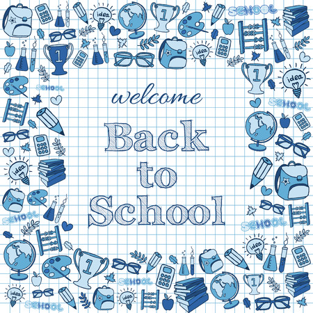 Welcome back to school card  Doodle pen drawn background  Vector illustration