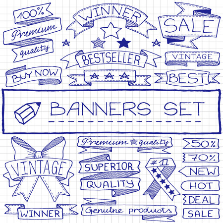 blue pen: Doodle banner and tag icons with captions and stars, blue pen effect. Vector illustration.