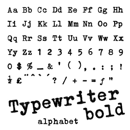 Fotografía alfabeto negrita Typewriter Macro de letras de máquina de escribir aislado en blanco