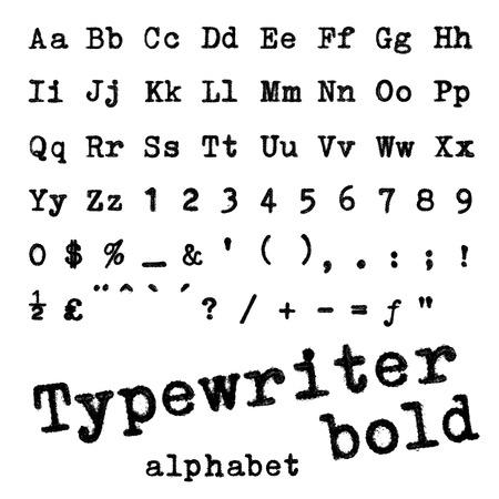 Schrijfmachine bold alfabet Macro foto van schrijfmachine letters op wit wordt geïsoleerd