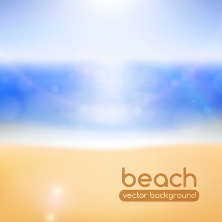 Blurred beach background, with bokeh and lens flare effects  Vector illustration