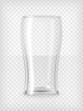 Empty beer glass  Realistic transparent vector illustration  Ilustração