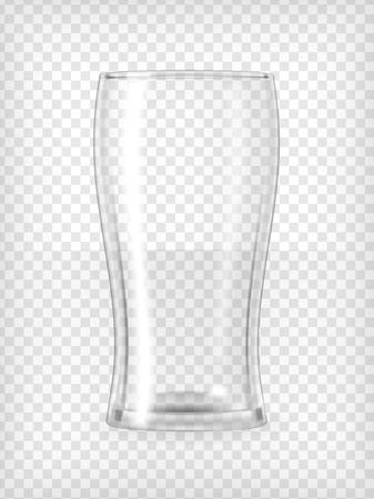 vidrio: Vaso de cerveza vacía ilustración realista vector transparente