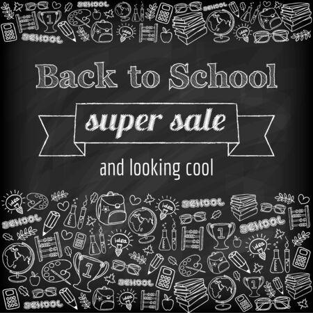 Doodle back to school super sale poster  Black chalkboard effect  Vector illustration