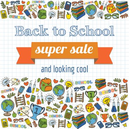 Doodle back to school super sale poster  Vector illustration  Vector