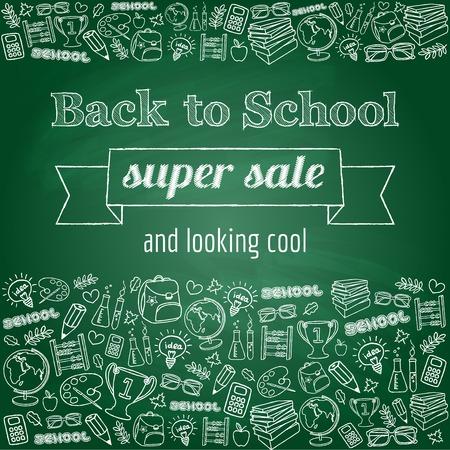 Doodle back to school super sale poster  Green chalkboard effect  Vector illustration  Ilustração