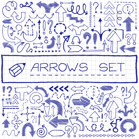 Hand drawn arrow icons with question and exclamation marks, blue pen effect  Vector illustration