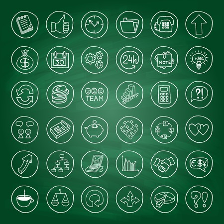 Doodle business set of buttons with arrows, diagrams, puzzle pieces, thumbs up and more  Green chalk board effect  Vector illustration  Vector