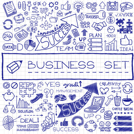 Hand drawn business set of icons with arrows, diagrams, puzzle pieces, thumbs up and more  Blue pen effect  Vector illustration