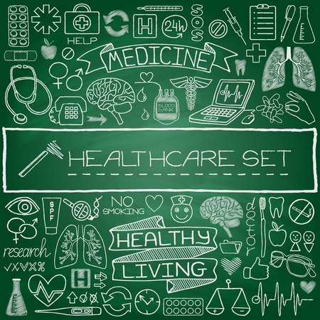 Hand drawn medical set of icons with medical and science tools, human organs, diagrams etc  Green chalkboard effect  Vector illustration  Illustration