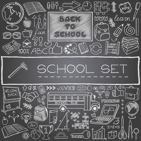 fournitures scolaires: Dessinés à la main des icônes de l'école avec panneau, bus scolaire, fournitures scolaires, pouces vers le haut et l'effet de tableau plus noir Retour à l'école concept illustration vectorielle