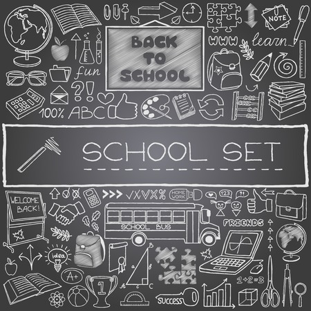 Hand drawn school icons with backboard, school bus, school supplies, thumbs up and more  Black chalkboard effect  Back to school concept  Vector Illustration  Vectores
