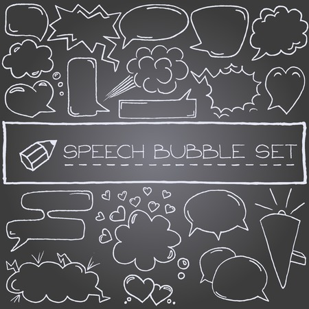Hand drawn speech bubbles with hearts and clouds, chalkboard effect  Vector illustration   Vector