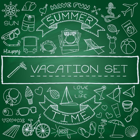 Hand drawn vacation icons set, green chalk board effect  Vector illustration  Vector