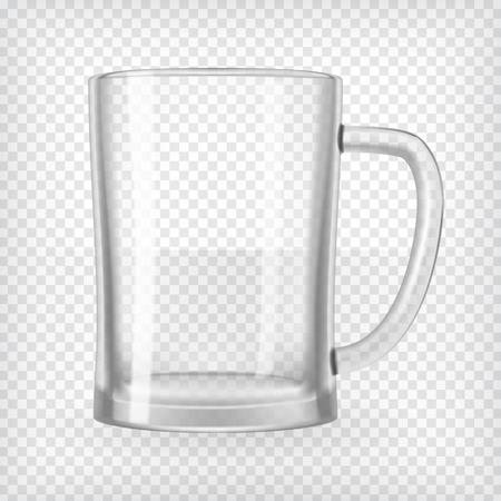 空のビール ジョッキ現実的な透明なベクトル図  イラスト・ベクター素材