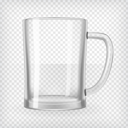 Empty beer mug  Realistic transparent vector illustration  Ilustracja