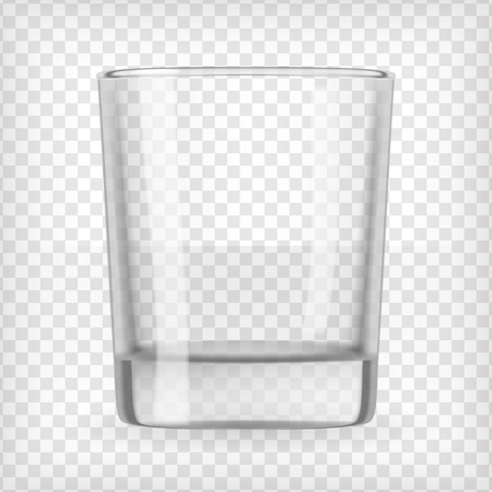 Empty small glass  Realistic transparent vector illustration