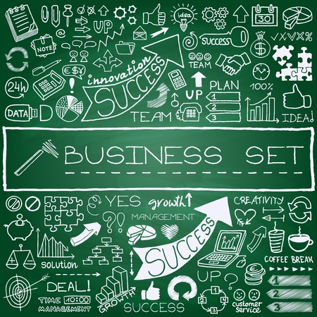 Doodle business icons set with arrows, diagrams, puzzle pieces, thumbs up and more  Green chalkboard effect  Vector Illustration  Ilustração