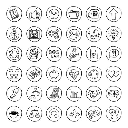 Hand drawn business set of buttons with arrows, diagrams, puzzle pieces, thumbs up and more  Vector illustration