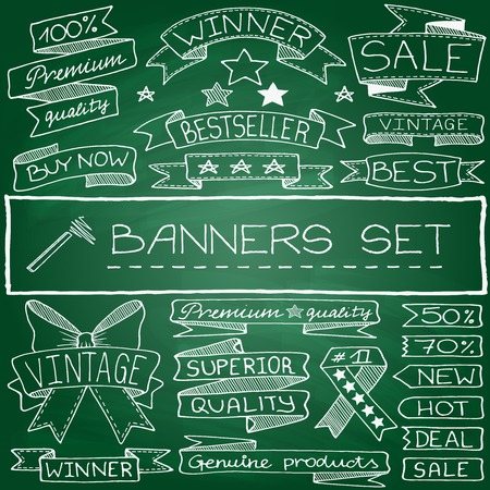 Doodle banner and tag icons with captions and stars, green chalkboard effect  Vector illustration  Ilustração