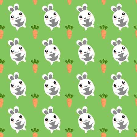 Seamless background of bunnies and carrots. Vector illustration. Vector