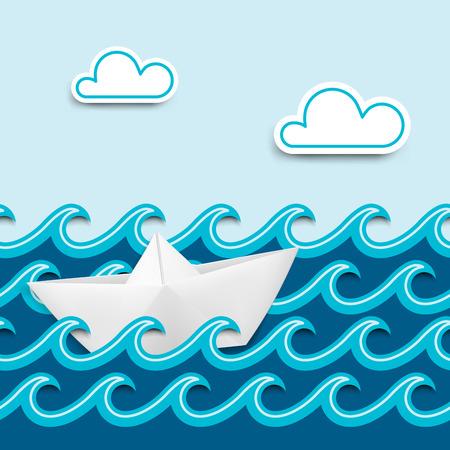 barco caricatura: Barco de papel en las ondas de papel, dibujos animados paisaje n�utico ilustraci�n vectorial
