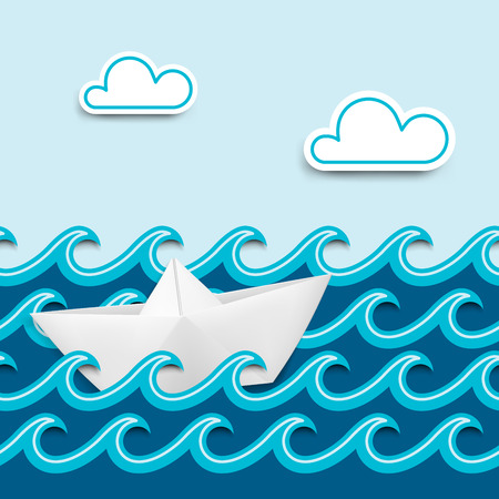 old boat: Paper boat on paper waves, nautical cartoon scenery  Vector illustration
