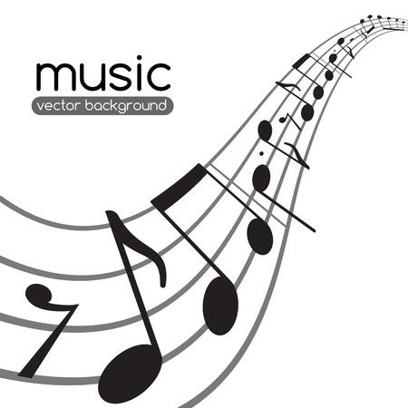 clave de fa: Notas de la música sobre el personal ondulado Fondo abstracto del vector Vectores