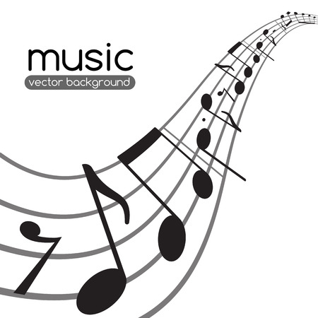 Music notes on wavy staff  Abstract vector background