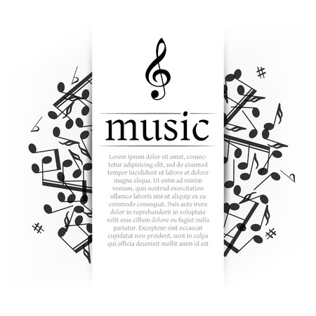 Musical background with clef and notes  Abstract vector illustration  Çizim