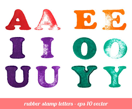Isolated rubber stamp letters set  A - Y vowels  Vector illustration