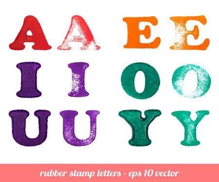Cartas de estampillas de goma aislado Conjunto A - Y las vocales ilustración vectorial
